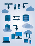 Sever database symbols. Symbols explaining database server flow in blue Stock Photography
