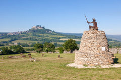 Severac-le-Chateau in France. FRANCE - MAY 28: Sculptures of sheep herd and stockman at the highway A75 resting place. May 28, 2015 in Severac-le-Chateau royalty free stock photography