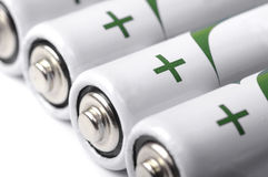 Several AA batteries closeup view Stock Photo