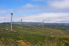 Several aeolian windmills - Meadas (hanks) sierra Royalty Free Stock Image