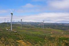 Several aeolian windmills - Meadas (hanks) sierra Royalty Free Stock Image
