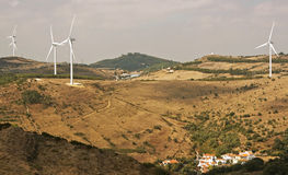 Several  aeolic windmills. Several Aeolic windmills in the Countryside Stock Image