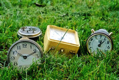 Several alarms. On the grass royalty free stock photos