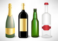 Several alcohol bottles. Several alcohol glass bottles set Royalty Free Stock Photos
