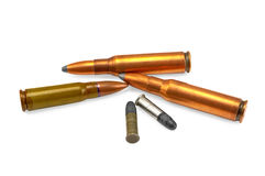 Several ammunition for the automatic weapons Royalty Free Stock Photo