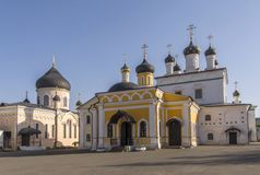 Several ancient churches with beautiful domes. Orthodox monastery of the ascension of David deserts. Russia. royalty free stock image