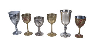 Several Antique Detailed Goblets Royalty Free Stock Images