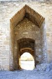 Several architectonic arch styles on stone castle. In Spain stock photography