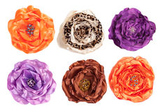 Several artificial flowers - top view. Isolated on white stock images