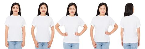 Several asian,korean women in white t-shirt isolated,china girl t shirt, front back views. Several asian,korean woman in white t-shirt isolated,china girl t stock photos