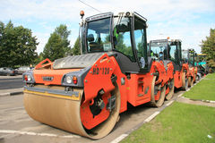 Several asphalt compactors of  company «Hamm» Royalty Free Stock Images