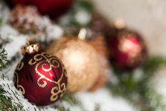 Several assorted Christmas ornaments Stock Photo