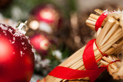 Several assorted Christmas ornaments Stock Photos