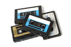 Several audio cassettes isolated royalty free stock photos