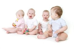 Several babies over white Stock Image
