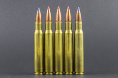 Several Ballistic Tip Rifle Rounds Royalty Free Stock Photos
