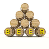 Several barrels of beer drink storage. Render illustration Stock Images