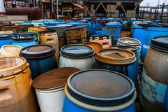 Several barrels of toxic waste Royalty Free Stock Image