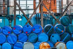 Several barrels of toxic waste Stock Image