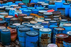 Several barrels of toxic waste Stock Photos