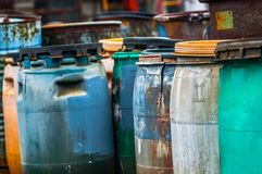 Several barrels of toxic waste Royalty Free Stock Photo