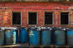 Several barrels of toxic Royalty Free Stock Photos