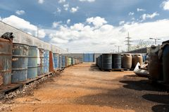 Several barrels of toxic waste glider footage Royalty Free Stock Photos