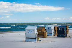 Several baskets on the beach. Royalty Free Stock Photography