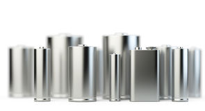 Several batteries in perspective view with depth of field Royalty Free Stock Photography