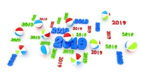 Several Beach Ball 2019 Designs with Some Balls. On a White Background royalty free illustration