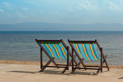 The several beach chairs Royalty Free Stock Photo