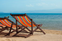 The several beach chairs Royalty Free Stock Photography