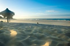 Several beach sun umbrellas at the sunset royalty free stock photo