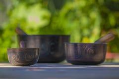 Several Beautiful Tibetan Singing Bowls stock photo