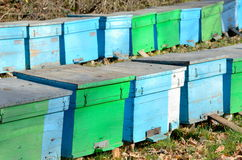 Several bee houses. In autumn stock photography