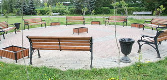 Several benches. In the park Royalty Free Stock Photography