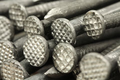Several big carpentry nails  background Royalty Free Stock Photo