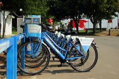 Several bike standing in the park, Burgas, Bulgaria, July 24, 2014 Royalty Free Stock Photography