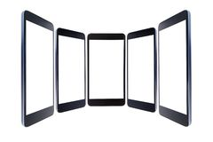 Several black smartphones close-up standing in a semi-circle isolated on a white with an isolated screen. Several black smartphones close-up standing in a semi royalty free illustration