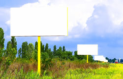 Several blank billboards Royalty Free Stock Image