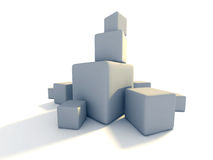 Several Blank White Block Cubes On White Background Royalty Free Stock Photos