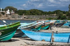 Several boats on the beach of Sri Lanka royalty free stock photography