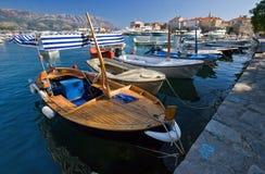 Several boats in Budva Stock Image