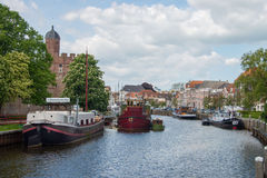 Several boats in city canal in Zwolle Royalty Free Stock Image