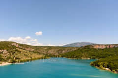 Several boats sail the crystal waters of Lake St. Croix. In Provence, France stock photos