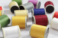 Several bobbins of cotton thread for sewing machines Stock Photography