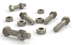 Several bolts and nuts Stock Images