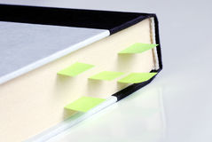 Several bookmarks in a hardcover book Stock Photos