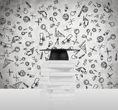 Several books and a graduation hat. A concept of the getting the degree. Royalty Free Stock Photo