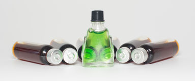 Several bottles of liquid medicine Stock Photography